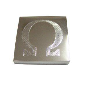 Etched Mathematical Greek Omega Symbol Magnet
